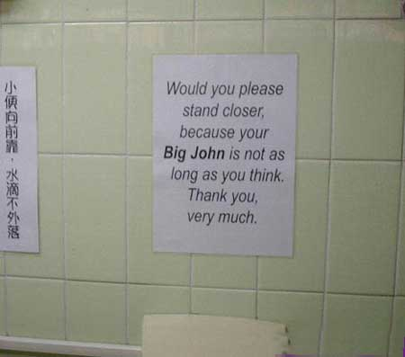 Toilet Signs: Towards the target