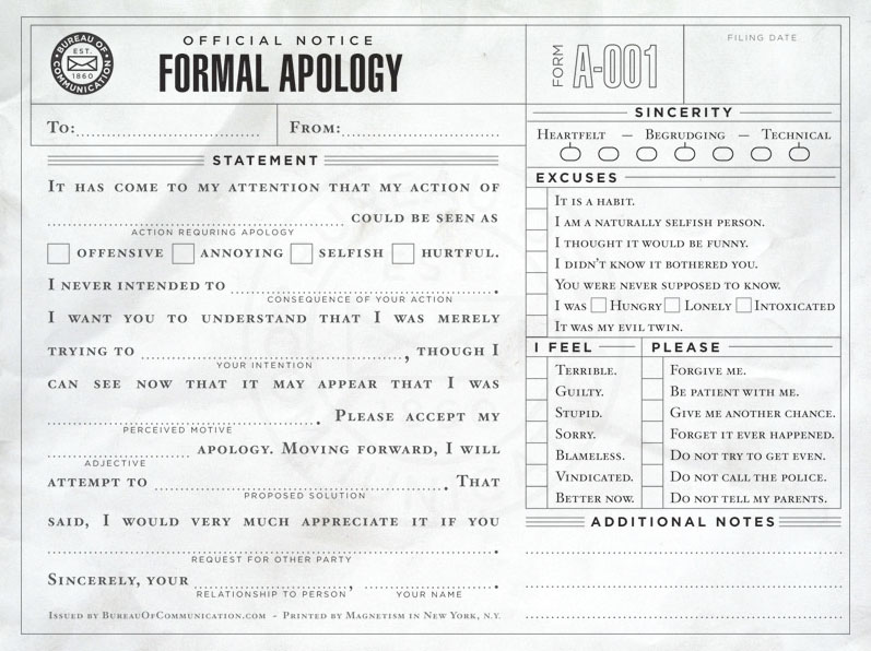 Formal Apology form