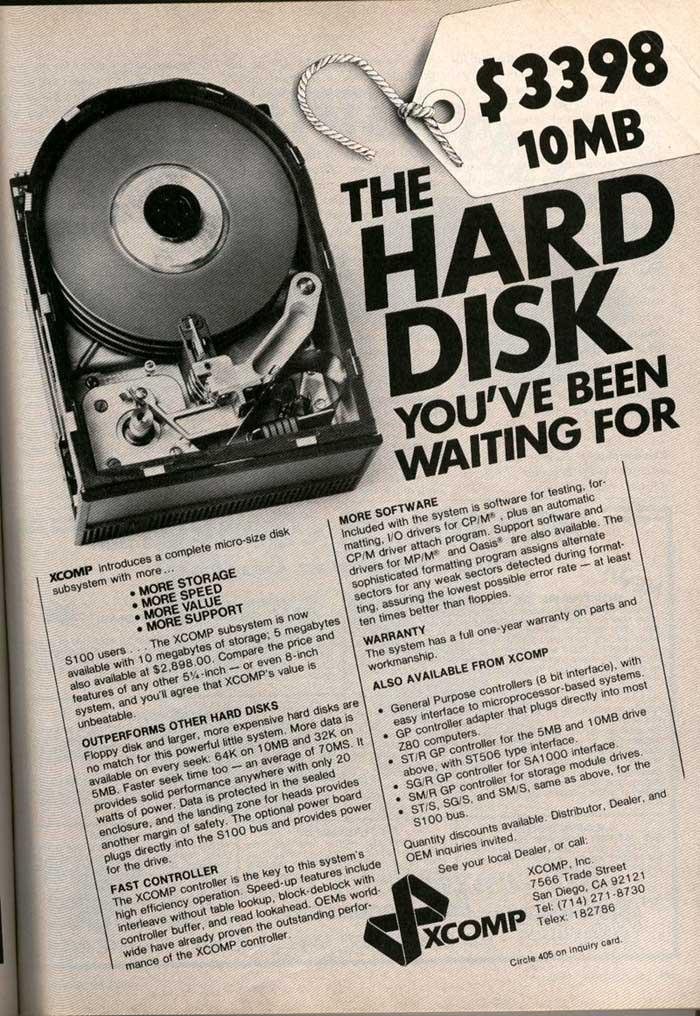 Sign Of The Times: 10 MB Hard Disk at $3398