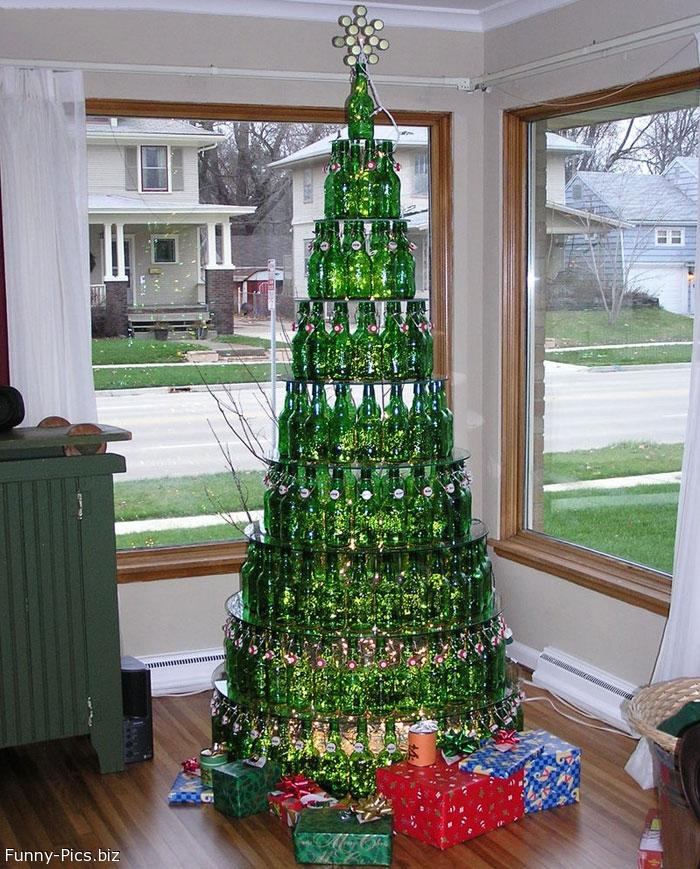 Christmas Tree made with Beer Bottles