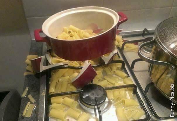 Explosive pasta cooking