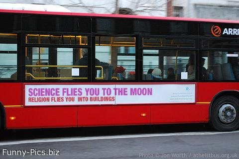 Crazy Bus Banners: Science and Religion