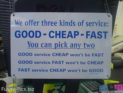 Crazy Signs: Good Cheap Fast