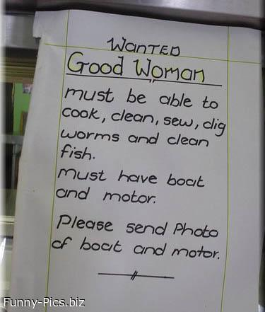 Funny Sign: Wanted Good Woman