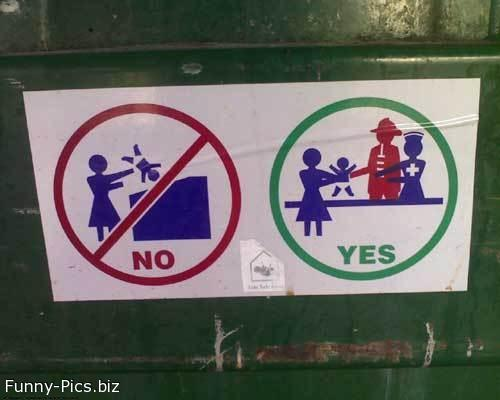 Funny Signs: Don't trash Children