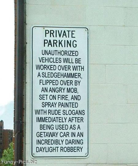 Funny Signs: Private Parking