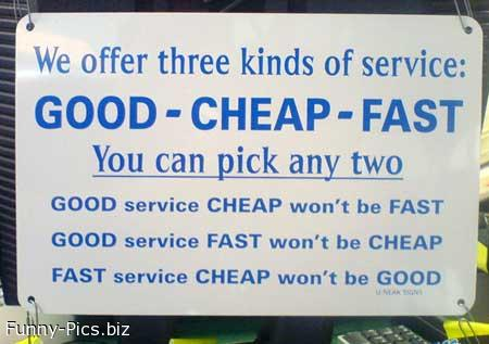 Funny Signs: Service types