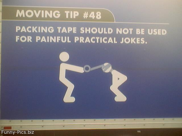 Funny Signs: Using packing tape