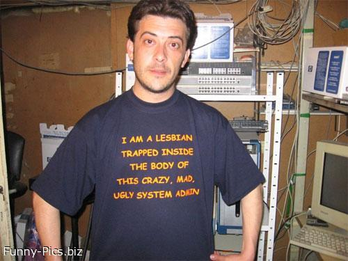 Funny T-Shirts dept. Trapped Lesbian