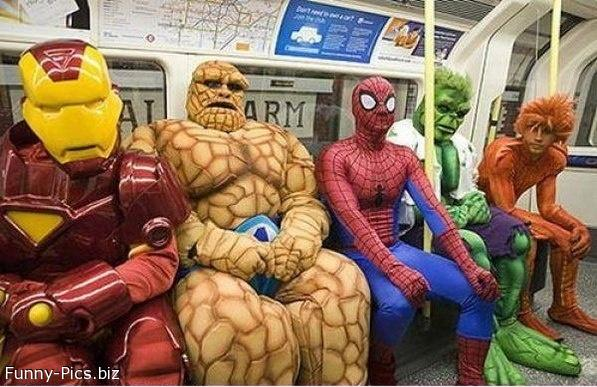 Marvel Heroes in the Metro
