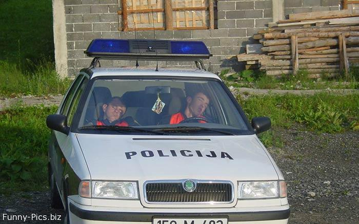 Policemen fell asleep